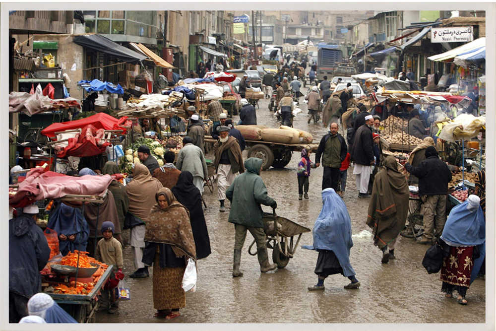 A crowded market in Afghanistan